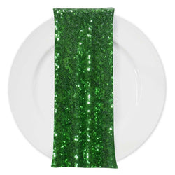 Glitz Sequins (w/ Poly Lining) Table Napkin in Emerald