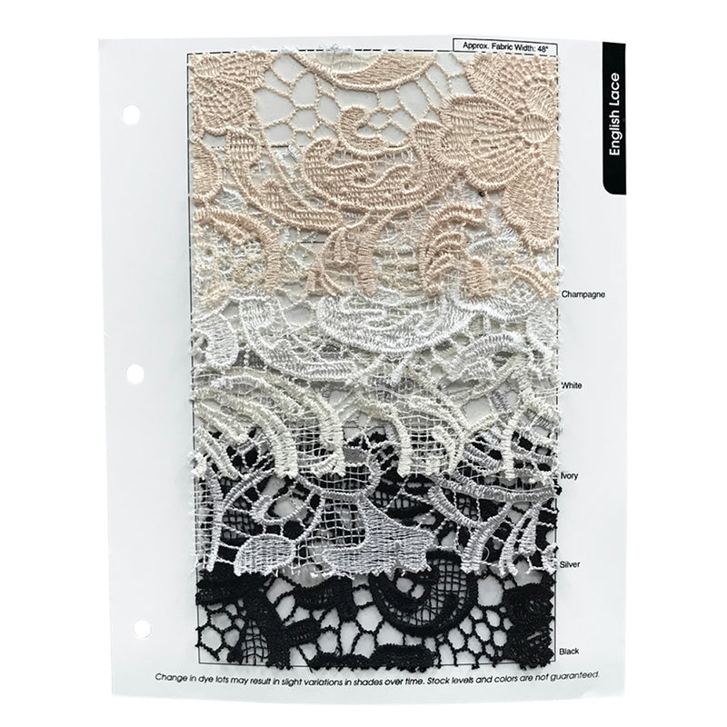 "English Lace Drapery Panels (48"" Wide) / 5 Colors"