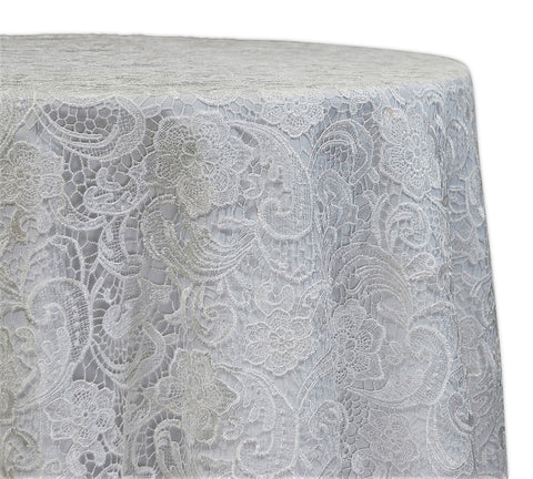 "English Lace - White 120"" Round Wedding Tablecloth"