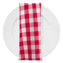 Polyester Checker (Gingham) Table Napkin in Fuchsia