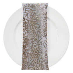 Fiori Leaf Sequins (w/ Poly Lining) Table Napkin in Champagne