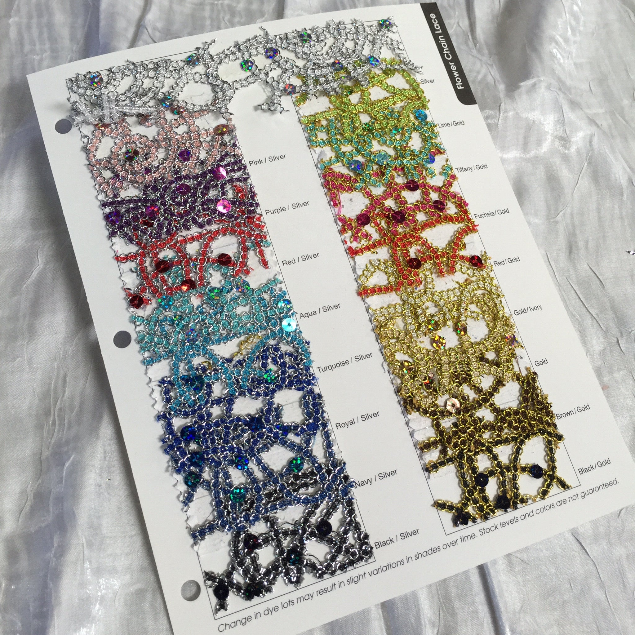 Flower Chain Lace Color Card