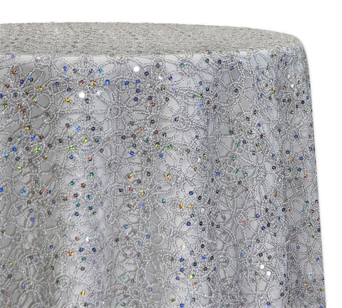 "Flower Chain Lace - Silver/White 120"" Round Wedding Tablecloth"