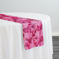 Basil Leaf Embroidery Table Runner in Fuchsia