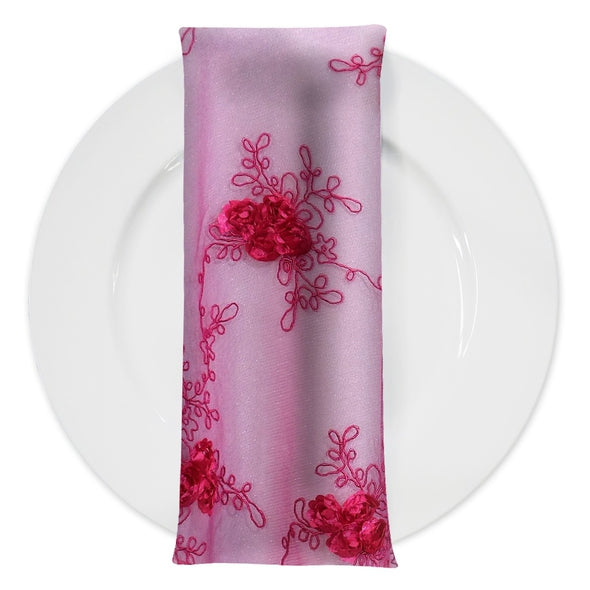 Baby Rose Embroidery (w/ Poly Lining) Table Napkin in Fuchsia