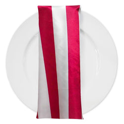 "2"" Satin Stripe Table Napkin in White and Fuchsia"