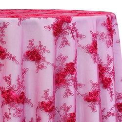 Baby Rose Embroidery Table Linen in Fuchsia