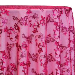 Basil Leaf Embroidery Table Linen in Fuchsia