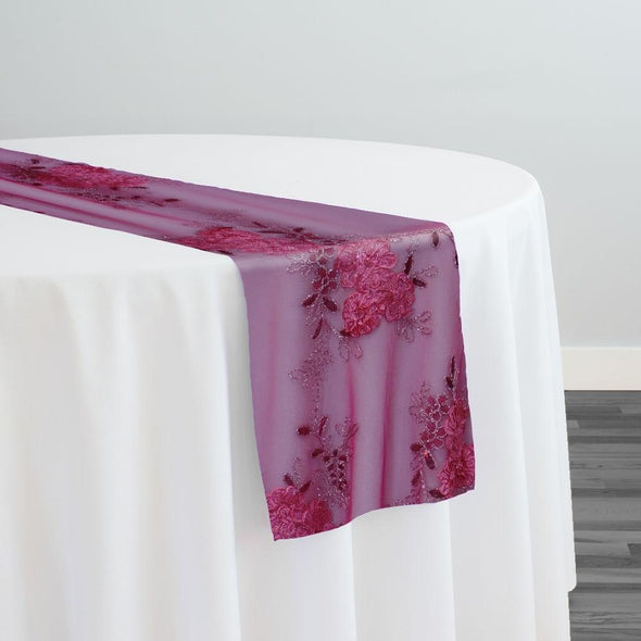 Ribbon Mesh Lace Table Runner in Fuchsia
