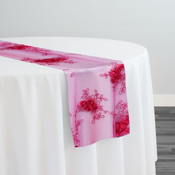 Baby Rose Embroidery Table Runner in Fuchsia