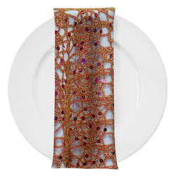 Flower Chain Lace (w/ Poly Lining) Table Napkin in Fuchsia and Gold