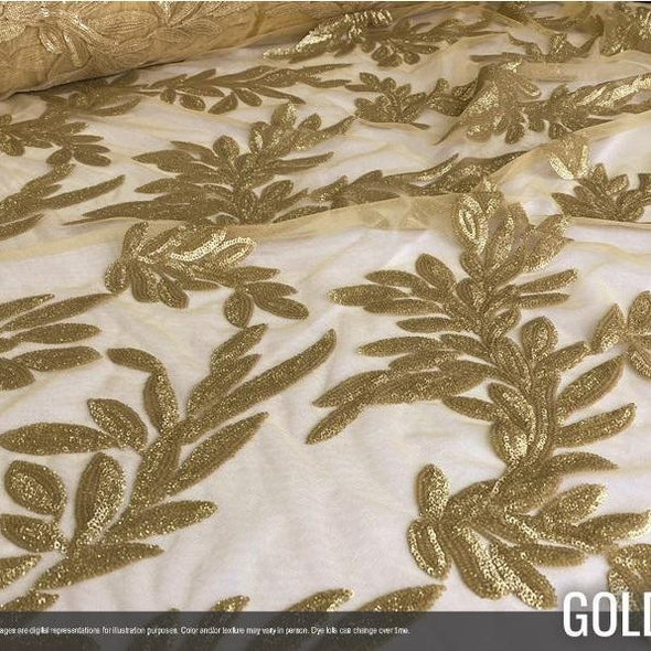 Giselle Sequins Wholesale Fabric in Gold