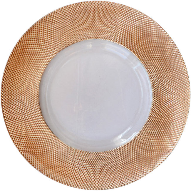 Dotted - Glass Charger Plate in Rose Gold