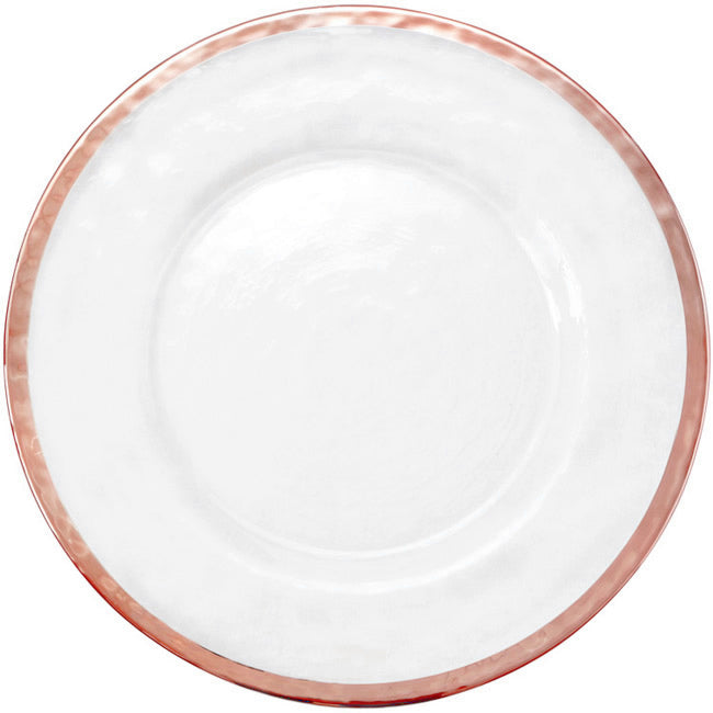 Halo - Glass Charger Plate in Rose Gold