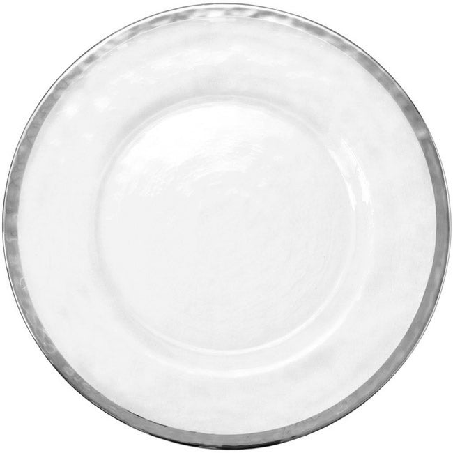 Halo - Glass Charger Plate in Silver