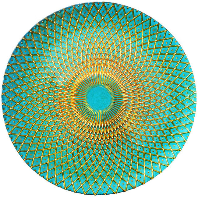 Mandala - Glass Charger Plate in Gold Teal