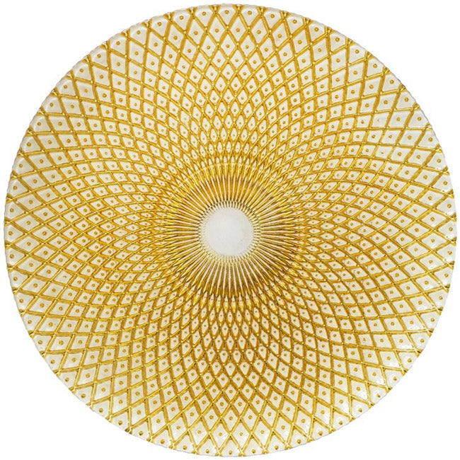 Mandala - Glass Charger Plate in Gold