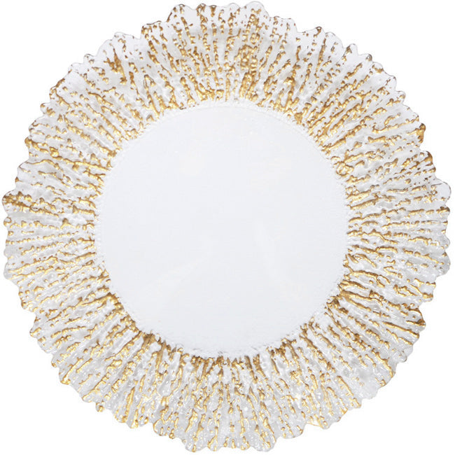 Floral - Glass Charger Plate in Gold