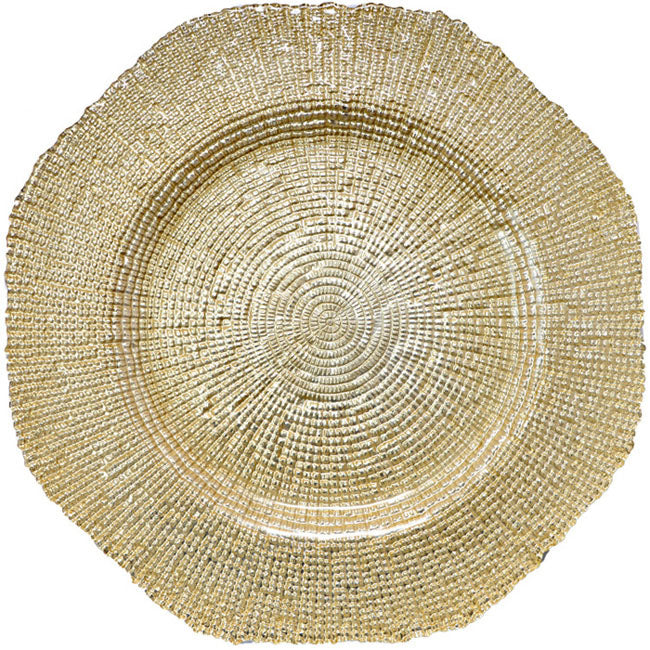 Hexagon - Glass Charger Plate in Gold