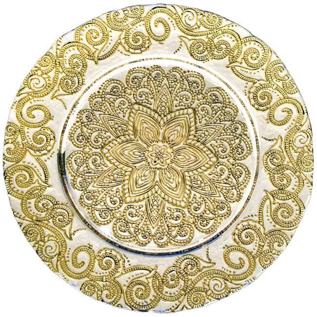 Henna - Glass Charger Plate in Gold