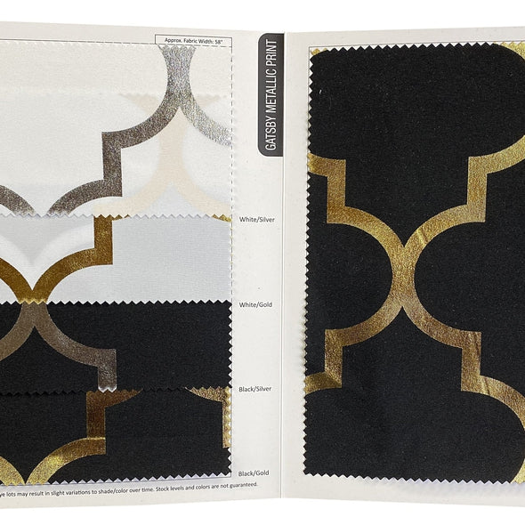 Gatsby (Metallic Print) Table Napkin in Black and Gold