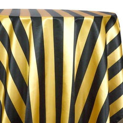 "2"" Satin Stripe Table Linen in Gold and Black"