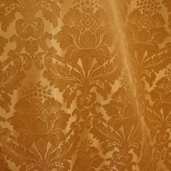 Damask Poly Wholesale Fabric in Gold 1326
