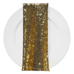 Glitz Sequins (w/ Poly Lining) Table Napkin in Gold 24K