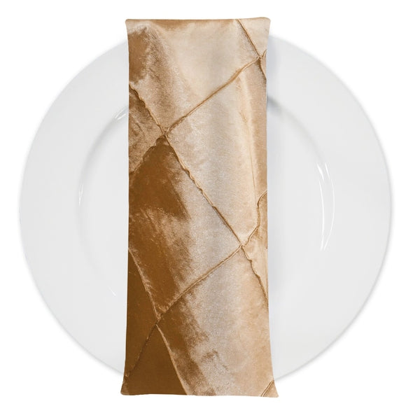 "4"" Pintuck Taffeta Table Napkin in Gold"