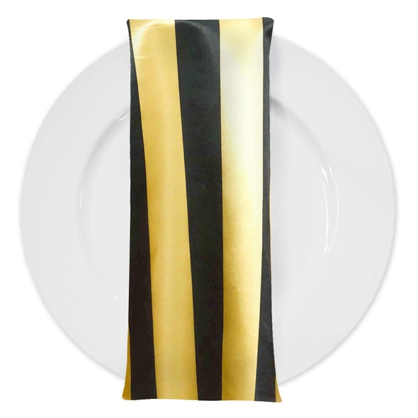 "2"" Satin Stripe Table Napkin in Gold and Black"
