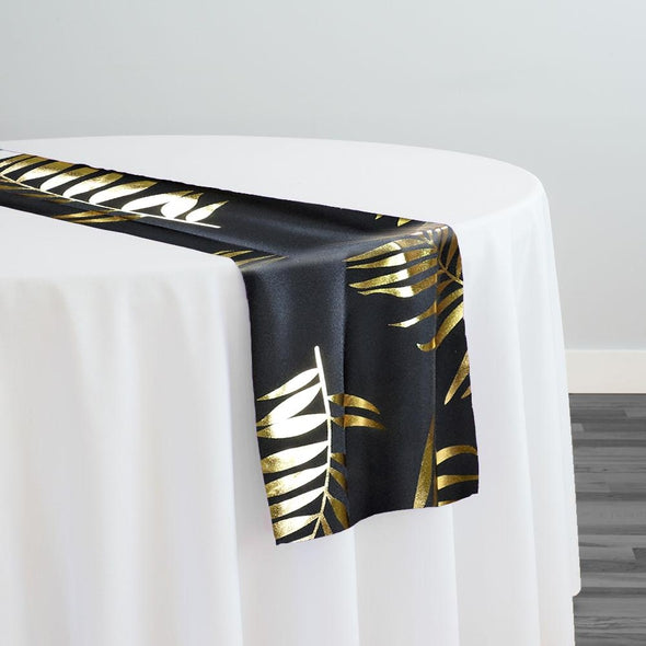 Leaf (Metallic Print) Table Runner in Black and Gold