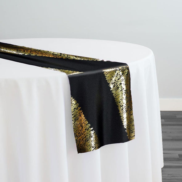 Stripe (Metallic Print) Table Runner in Black and Gold