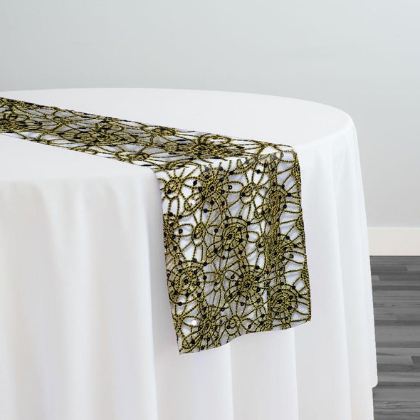 Flower Chain Lace Table Runner in Black and Gold