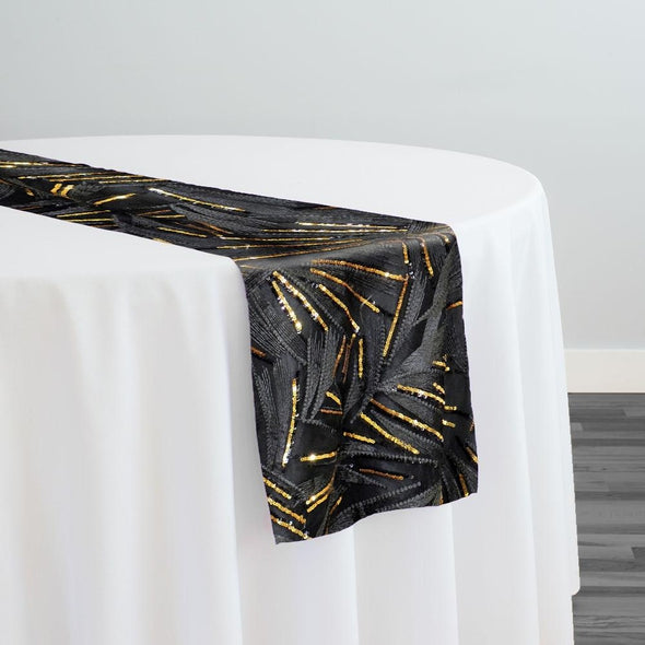 Sparkle Sequins Table Runner in Black and Gold