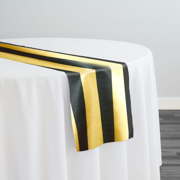 "2"" Satin Stripe Table Runner in Gold and Black"