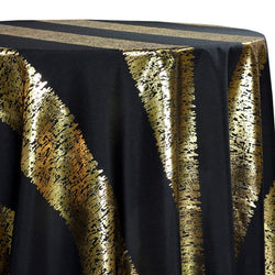 Stripe (Metallic Print) Table Linen in Black and Gold