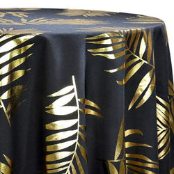 Leaf (Metallic Print) Table Linen in Black and Gold