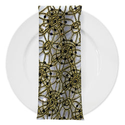 Flower Chain Lace (w/ Poly Lining) Table Napkin in Black and Gold