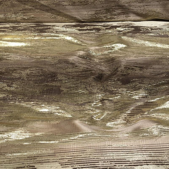 Static Jacquard Wholesale Fabric in Gold and Brown