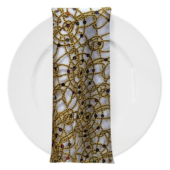 Flower Chain Lace (w/ Poly Lining) Table Napkin in Brown and Gold