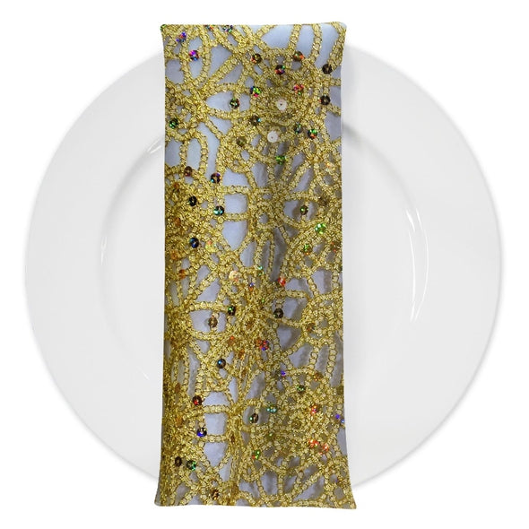 Flower Chain Lace (w/ Poly Lining) Table Napkin in Gold and Gold