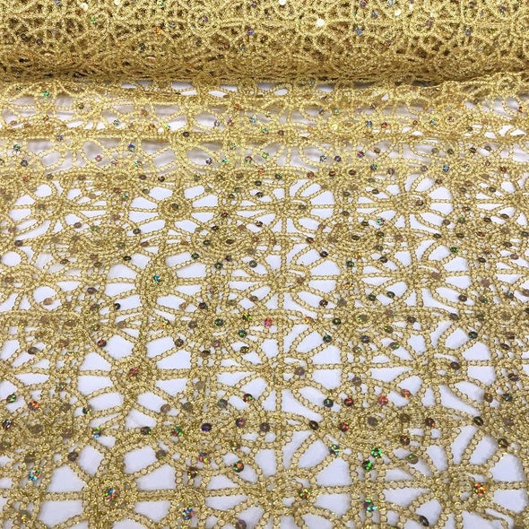 Flower Chain Lace Table Runner in Gold and Gold