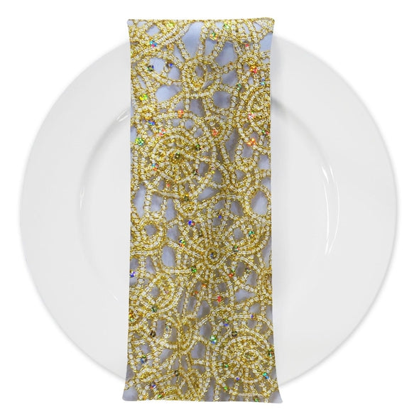 Flower Chain Lace (w/ Poly Lining) Table Napkin in Ivory and Gold