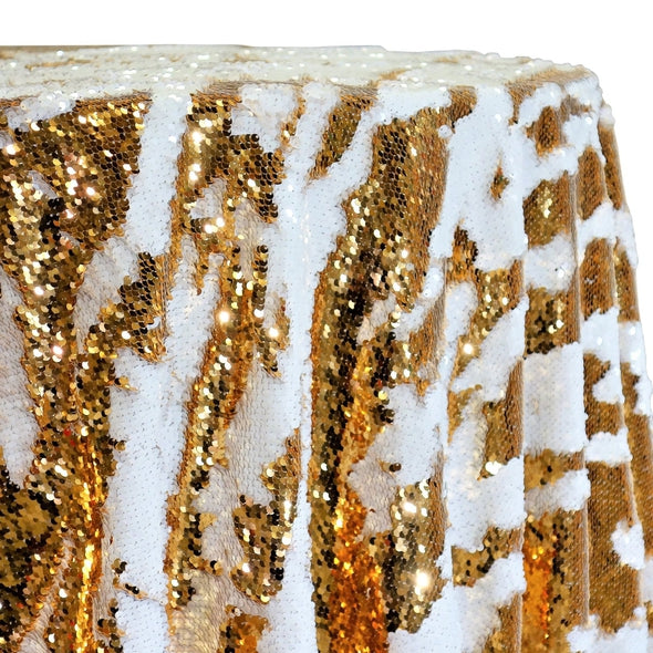 Two-Tone Sequins Table Linen in Gold and White