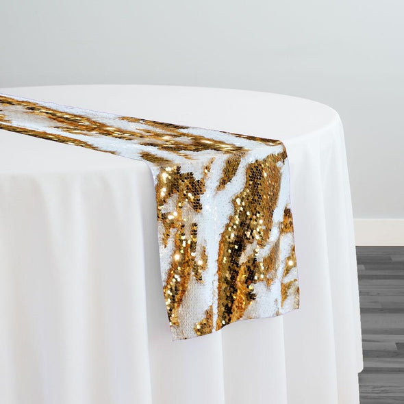 Two-Tone Sequins Table Runner in Gold and White