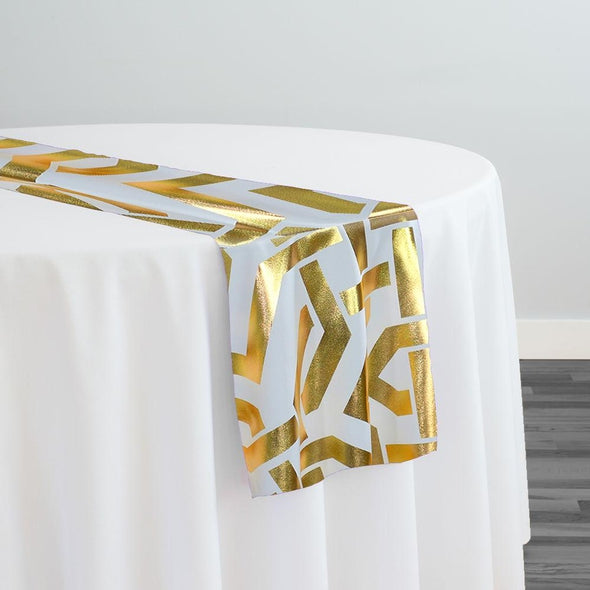 Majestic (Metallic Print) Table Runner in White and Gold