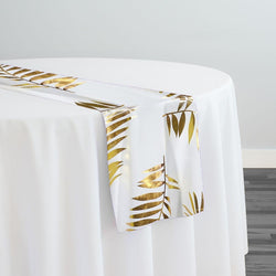 Leaf (Metallic Print) Table Runner in White and Gold
