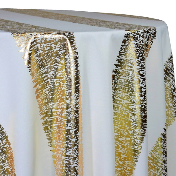 Stripe (Metallic Print) Table Linen in White and Gold