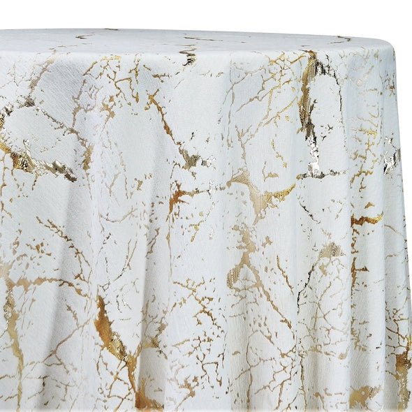 Marble Jacquard Table Linen in Gold