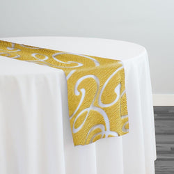 Contempo Scroll Sheer Table Runner in Gold